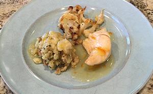 glazed chicken and cauliflower
